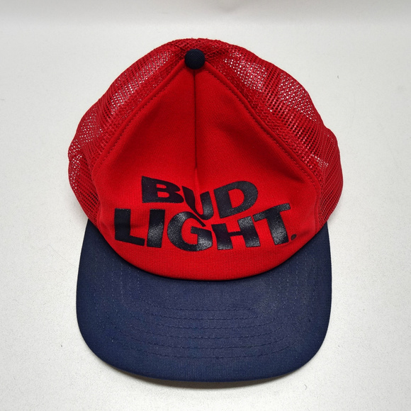 ba131034 Vintage Bud Light Snapback Mesh Trucker Hat